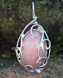 Náhrdelníky - Ružový opál - prívesok - 11307300_