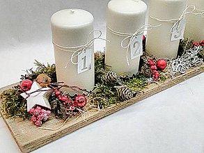 Dekorácie - Adventný svietnik natur - 11309456_