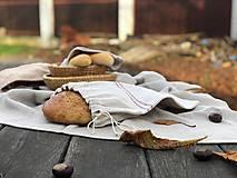 Úžitkový textil - Vrecko na chlieb z ľanového plátna - 11308958_