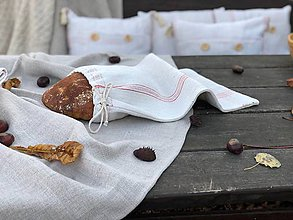 Úžitkový textil - Vrecúško na pečivo z hrubého ľanového plátna - 11309451_