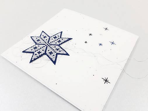 Vianočná kométa III - vyšívaná vianočná pohľadnica