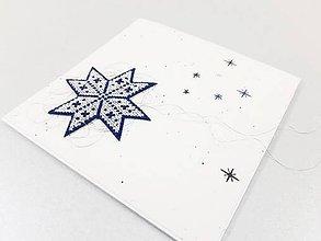Papiernictvo - Vianočná kométa III - vyšívaná vianočná pohľadnica - 11308845_