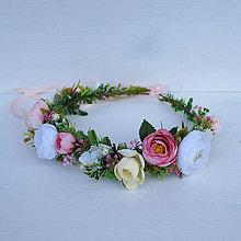Ozdoby do vlasov - Venček do vlasov s iskerníkmi, ružový, romantický - 11311505_