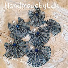 Dekorácie - Anjeliky na zavesenie - sada 6ks (Modrá) - 11312495_