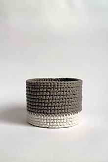 Košíky - Košík háčkovaný   Šedý   Béžový   malý - 11313203_