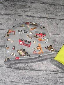 Detské čiapky - Detská čiapka autíčková s flisom - 11315164_