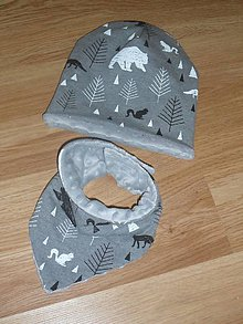 Detské čiapky - Detský set s minky - 11315352_