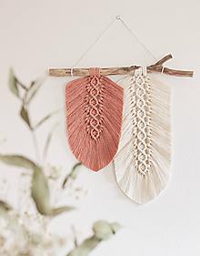 """Dekorácie - makramé listy """"minimalizmus""""rúžovo-biele - 11311779_"""