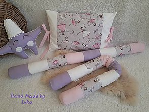 Textil - Do postieľky : valec   + zástena pri hlavičke -  pre dievčatko - 11315194_