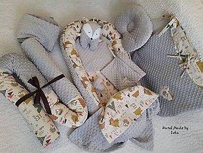 Textil - Hniezdo pre bábätko - sivé minky/   100% bavlna - 11315348_