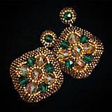 Náušnice - Meghan - oranžovo zelene - 11314862_