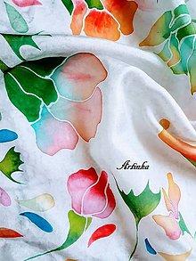 Šatky - Šatka hodvábna - abstraktné kvety - 11312172_