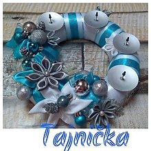 Dekorácie - Tyrkysový adventný venček - 11312251_