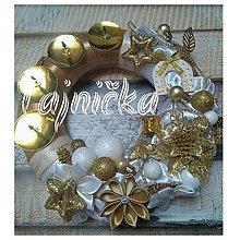 Dekorácie - Zlatý adventný veniec - 11312278_