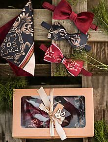 Doplnky - Exkluzícna darčeková kazeta pre neho (3x motýlik a vreckovka) - 11313729_