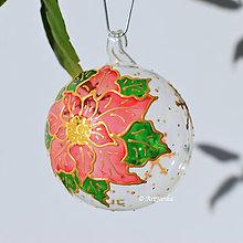 Dekorácie - sklenené gule - Vianočná ruža ružová - 11312113_