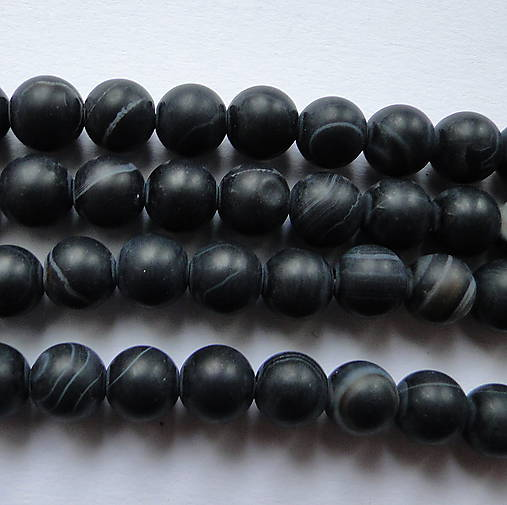 Achát 6mm-1ks (matný čierny)