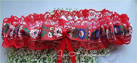 Bielizeň/Plavky - podväzok pre nevestu folk - 11313975_