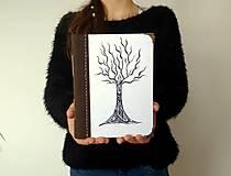 Diár Ručne šitý KRESLENÝ * zápisník * sketchbook ,,Strom