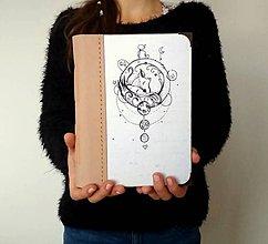 """Papiernictvo - Diár Ručne šitý KRESLENÝ  zápisník * sketchbook ,,B 612"""" A5 s koženým chrbtom - 11311559_"""