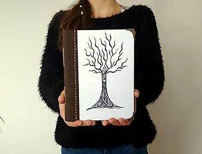 """Papiernictvo - Diár Ručne šitý KRESLENÝ * zápisník * sketchbook ,,Strom"""" A5 s koženým chrbtom - 11311580_"""