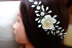 vlasová ozdoba, venček, čelenka - ivory kvet