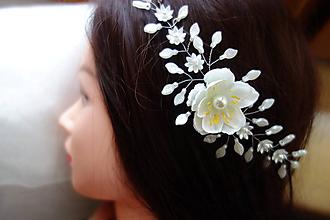 Ozdoby do vlasov - vlasová ozdoba, venček, čelenka - ivory kvet - 11311507_