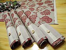 Úžitkový textil - Vidiecka sada -  štóla + prestieranie srdiečka na režnom - 11315592_