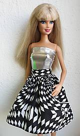 Hračky - Čiernobiela sukňa pre Barbie - 11315239_