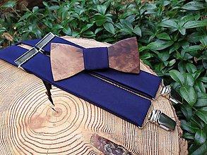 Doplnky - Pánsky drevený motýlik a traky - 11312901_