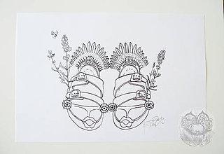 Kresby - Topánky s levandulami a so včielkou - 11314272_
