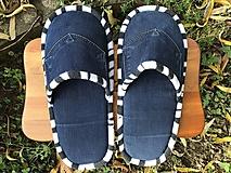 Obuv - Veľké modré riflové papuče s vreckom - 11311006_