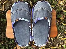 Veľké denim papuče so strakatým lemom