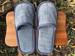 Obuv - Modré riflové papuče s modrým lemom - 11311586_