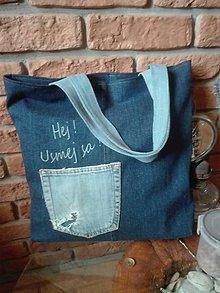 Nákupné tašky - Rifľová nákupná taška - usmej sa ! - 11310855_