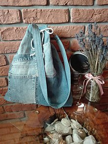 Kabelky - Rifľová taška na rameno - na sťahovačku - 11310900_
