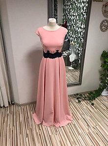 Šaty - Ružové spoločenské šaty s krajkou - 11314617_