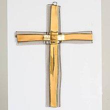 Dekorácie - Sklenený kríž na stenu zlatý vrstvený - 11311868_