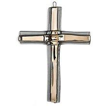 Dekorácie - Sklenený kríž na stenu strieborný vrstvený malý - 11312240_