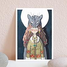 Papiernictvo - Pohľadnica- divožienka s lesným duchom - 11312290_
