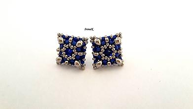 Náušnice - Napichovačky (13x13mm) (modrá) - 11311748_