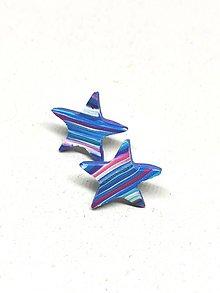 Náušnice - Modré hviezdičky - 11312532_