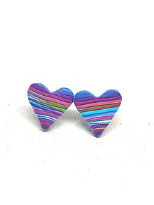 Náušnice - Ružovo-modré srdiečka - 11312586_