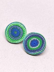Náušnice - Modro-zelené kolieska - 11312650_