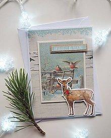 Nezaradené - Vianočná pohľadnica srnka - 11312817_