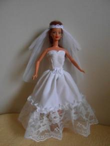 Hračky - Svadobné šaty so závojom pre barbie - 11311012_