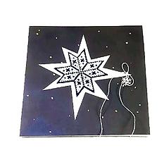 Papiernictvo - Vianočná kométa II - vyšívaná vianočná pohľadnica - 11313920_