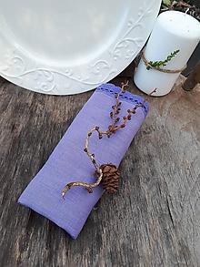 Úžitkový textil - Ľanový obrúsok fialový - 11313816_