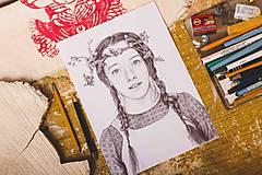 Obrazy - Anna ze Zeleného domu - kresba, A4 - 11319267_
