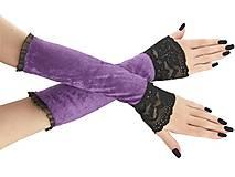 Rukavice - Dámské rukavice zamatové fialové lila s čipkou 01T - 11320107_